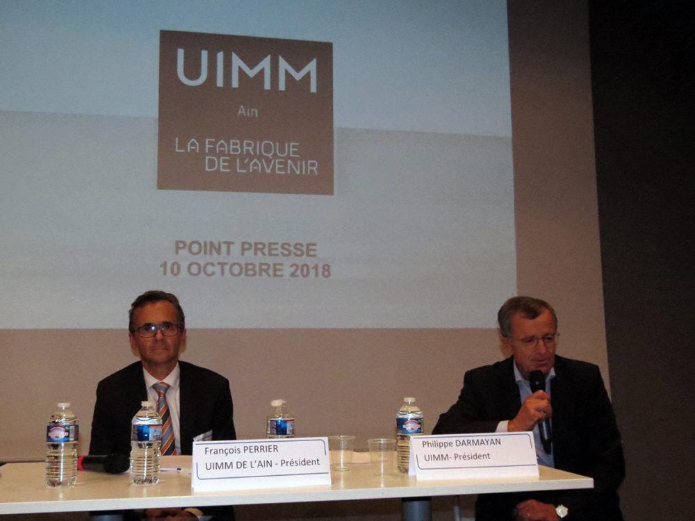 François Perrier, président de l'UIMM de l'Ain et de l'UIMM Aura, et Philippe Darmayan, président national de l'UIMM