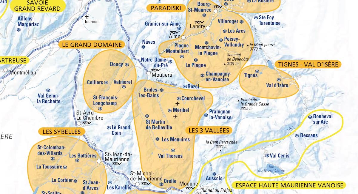 La carte des domaines skiables de Savoie et de Haute-Savoie 2018-2019