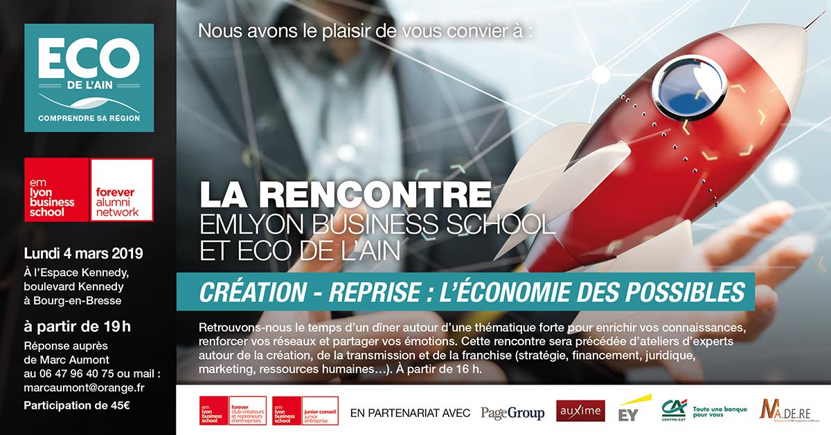 Rencontre Emlyon Business School-Éco de l'Ain, 4 mars, Espace Kennedy, création-reprise d'entreprise.