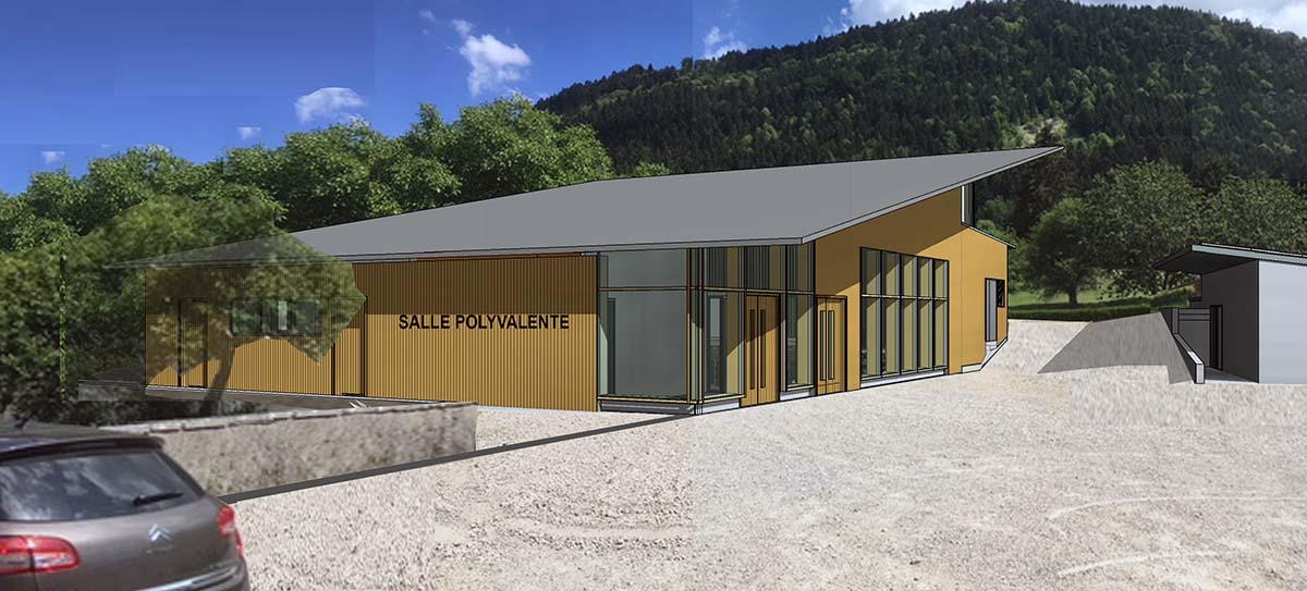 La future salle polyvalente du Poizat-Lalleyriat, en hêtre et résineux