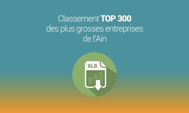 Le TOP 300 des entreprises de l'Ain 2019 à télécharger au format Excel