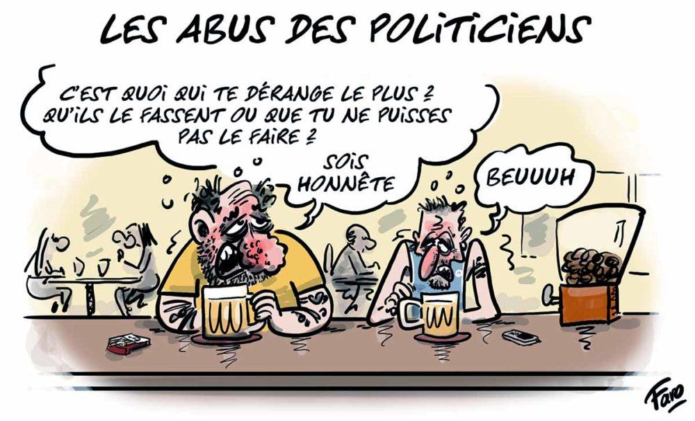 Les abus des politiciens croqués par Faro