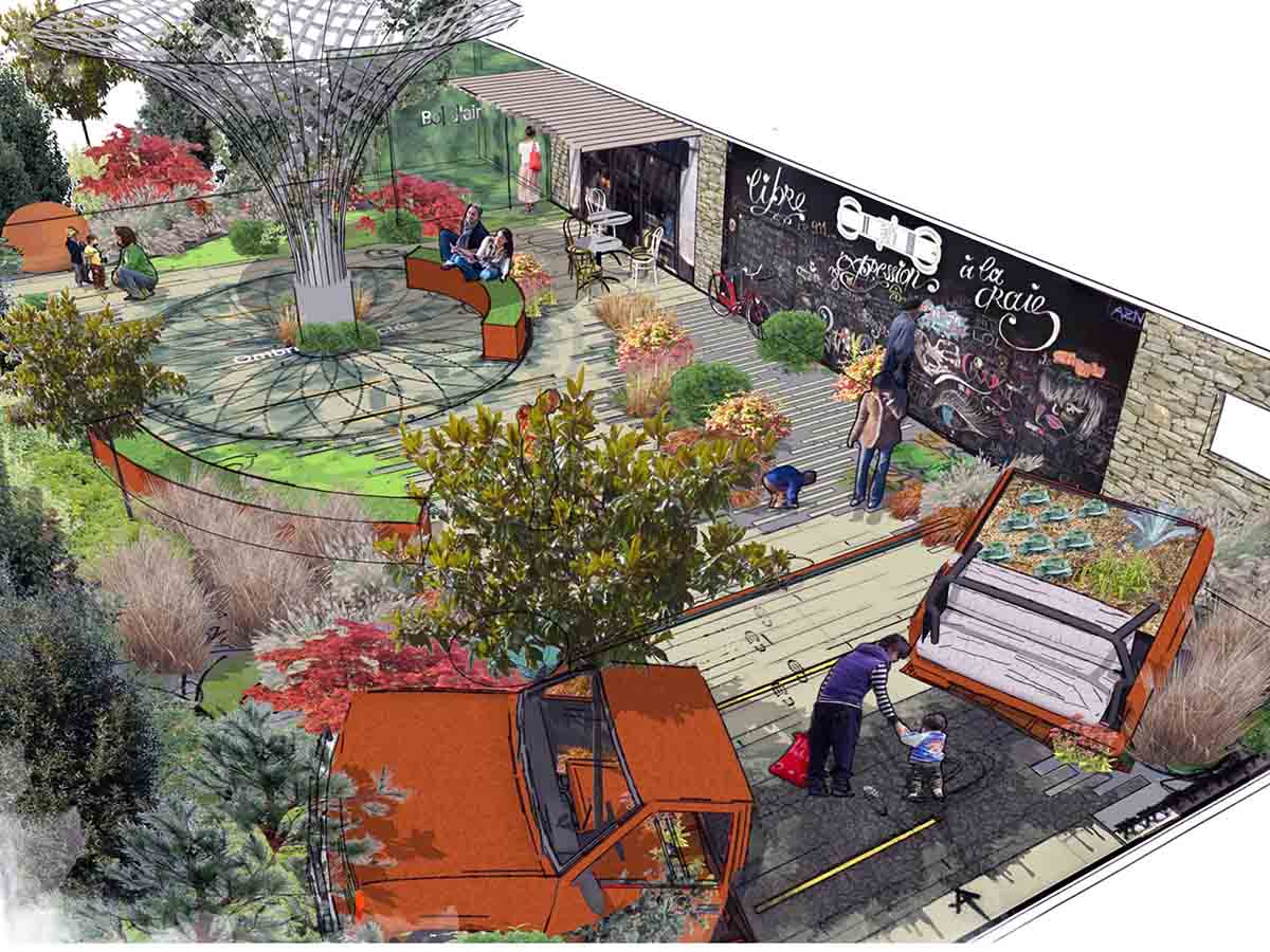 Une vue du projet de Mainaud création pour le Carré des Jardiniers