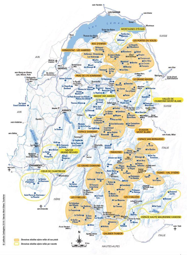 carte des stations de ski alpes du nord La carte des domaines skiables de Savoie et de Haute Savoie 2019