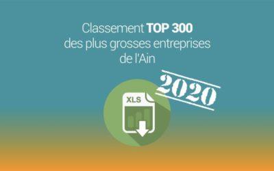 Le classement TOP 300 des entreprises DE L'AIN 2020 à télécharger au format Excel