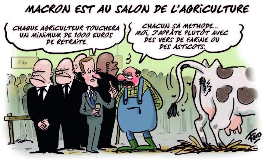 Emmanuel Macron au Salon de l'agriculture, croqué par Faro