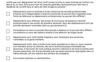 Confinement : téléchargez la nouvelle attestation de déplacement dérogatoire